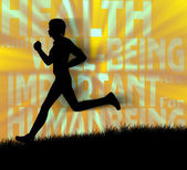 Silhouette of a human jogging — Stock Photo