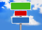 Sign board placed over bright blue sky — Stockfoto