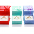 Three gift ring boxes isolated on white background with reflection - Make y — Foto de Stock