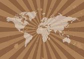 Line World Background with Grunge Sunburst — Cтоковый вектор