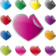 Glossy heart shaped stickers set vector — Stock Vector