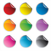 Glossy colorful circle stickers set vector — Stock Vector