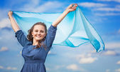 A woman with a shawl — Stock Photo