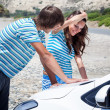 Stock Photo: A couple is going on a car trip