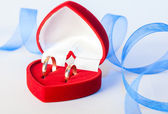 Wedding rings with decoration — Stock Photo