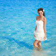 Bride in the sea — Stock Photo