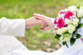Bride and groomare are holding hands — Stock Photo