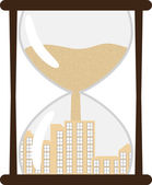 Hourglass with town inside — Stock Vector