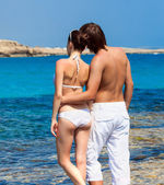 A couple in the sea — Stock Photo