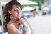 Grekland kvinna poserar — Stockfoto