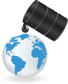 Oil is dripping on Earth — Stock Vector
