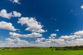 Blauer himmel, wolken und grünen wiese — Stockfoto