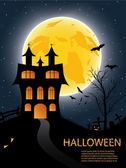 Halloween card with castle, pumkin, bats and moon — Stock Vector