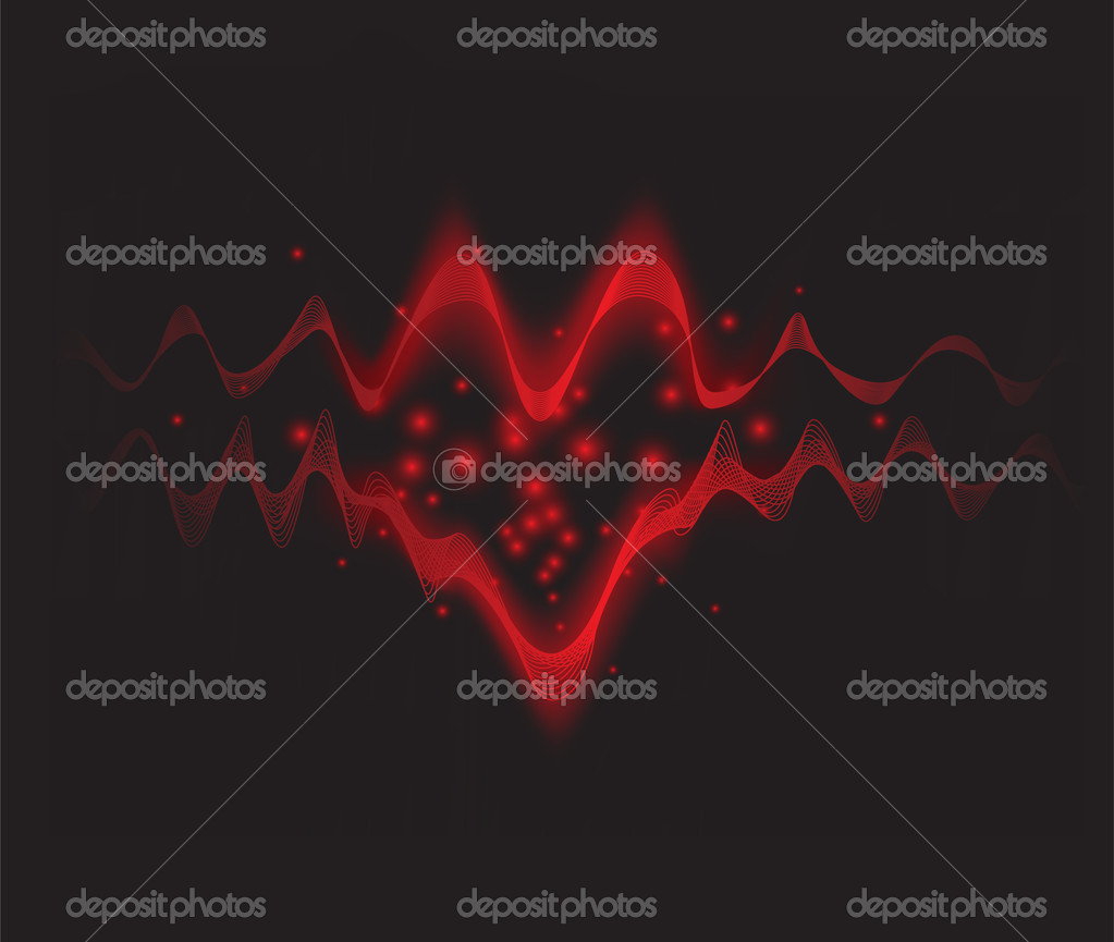 Glowing waves to form the shape of a heart. — Stock Vector #19601189