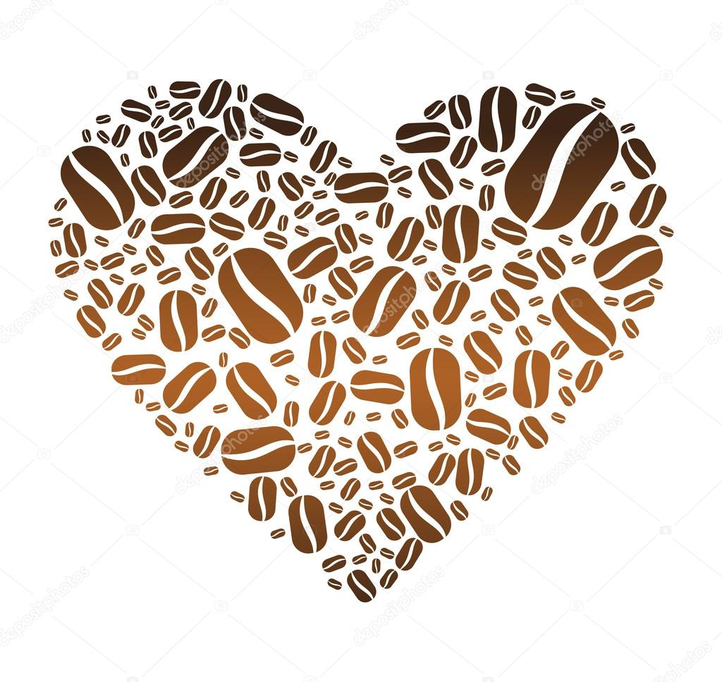 Coffee Bean Heart — Stock Vector © Zethinova1 #21600819