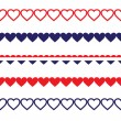 Patriotic Heart Borders — Stock Vector
