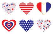 Patriotic Hearts — Stock Vector
