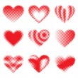 Halftone Hearts — Stock Vector