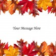 Fall leaves above and below message — Stock Photo #18185403