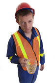 Worker with beer in hand — Stock Photo