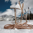 Vintage sporting equipment in snow — Stock Photo