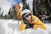 Outdoor activity with the dog — Stock Photo
