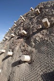 Metal mesh rockfall barriers — Stock Photo