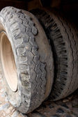 Extremely worn tires — Stock Photo
