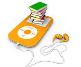 Book and mp3 player — Stock Photo