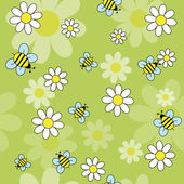Bees daisies — Stock Vector