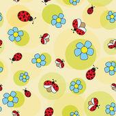 Ladybug on camomile — Stock Vector