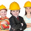 Foto Stock: Three future construction workers