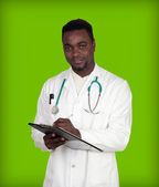 African american man doctor writing — Stock Photo