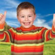 Stock Photo: Child without allergies in field