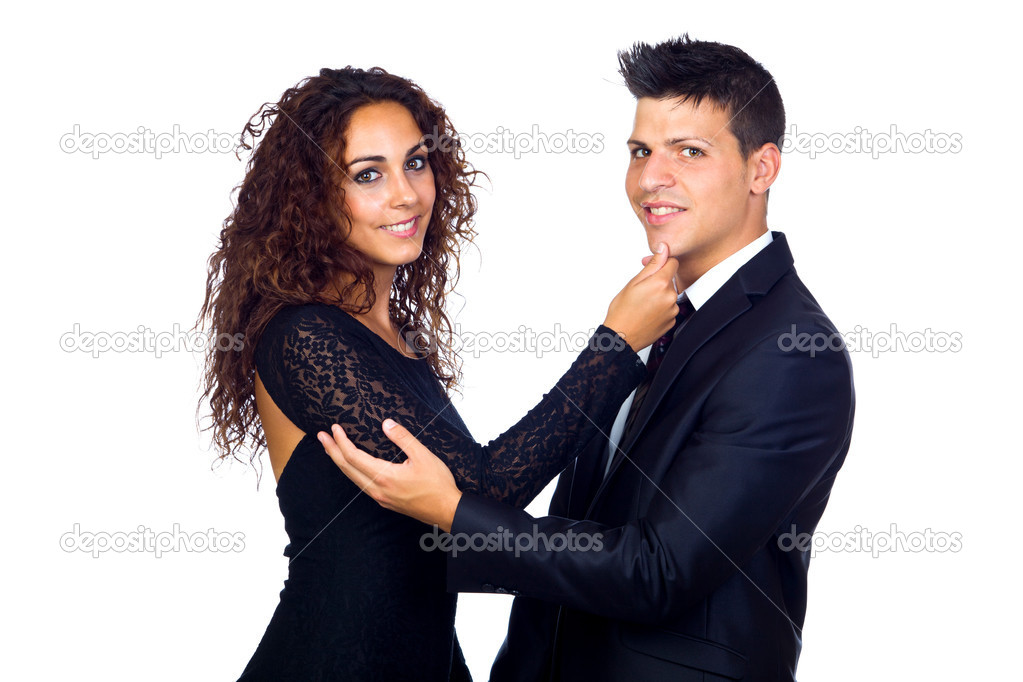 Young Business Loving Couple Caressing Over White Background  Stock Photo #13575720