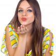 Beautiful Young Girl Blowing Kiss — Stock Photo #13646564