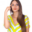 Sexy Young Woman Thinking with Finger on Head — Stock Photo