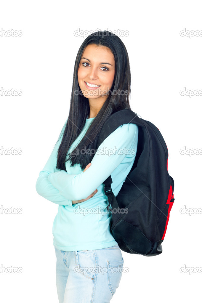 Young University Student with a Bagpack Isolated on White  Stock Photo #13646587