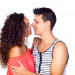 Stock Photo: Young Casual Caucasian Couple Flirting