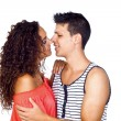 Young Casual Couple Kissing — Stock Photo