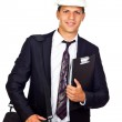 Young Elegant Engineer with a White Helmet — Stock Photo