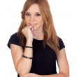 Pensive blond woman with black shirt — Stock Photo