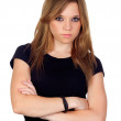 Attractive angry woman with black shirt — Stock Photo