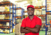 Worker man with red uniform — Stock Photo
