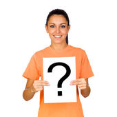 Girl Holding a Blank Paper with a Question Mark — Stock Photo