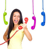 Busy Woman Shouting a Red Phone — Stock Photo