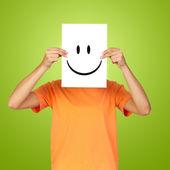 Woman showing a happy emoticon — Stock fotografie
