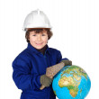 Adorable future builder constructing world — Stock Photo #16028317