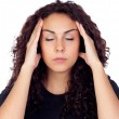 Brunette woman with headache — Stock Photo