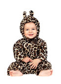Adorable baby girl with leopard costume — Stock Photo